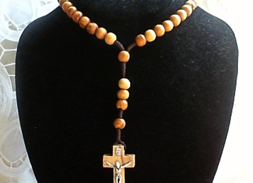 Olive Wood Rosary Necklace with Crucifix