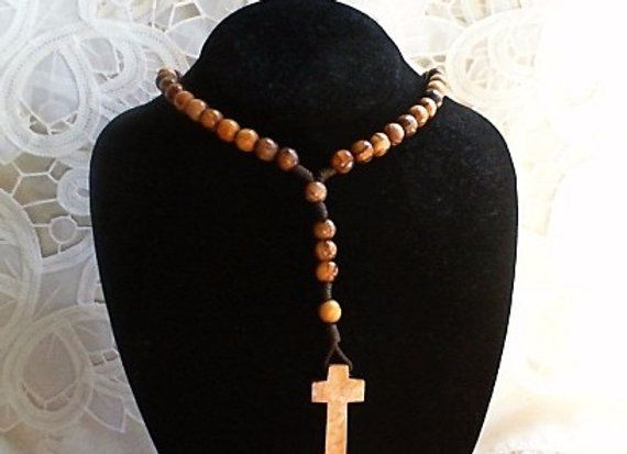 Olive Wood Rosary Necklace