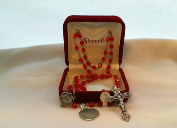 Rosary - Red crystal with Sterling Silver