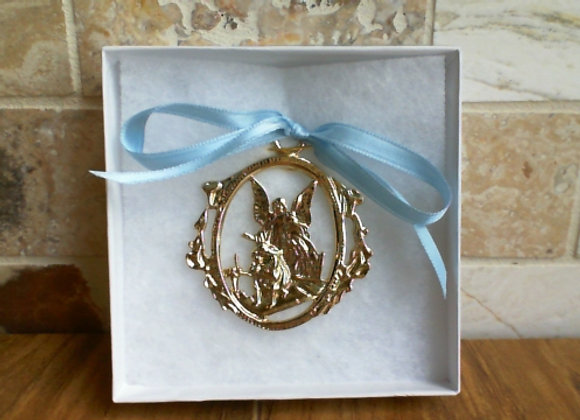 Guardian Angel Crib Medal, Blue