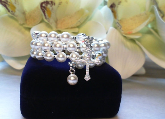 Child's Rosary Bracelet made with Swarovski Crystals