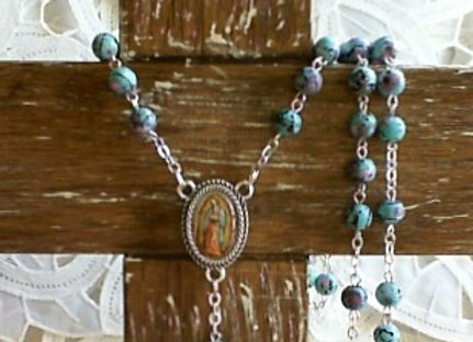Rosary - Egg Robin Blue With Our Lady of Guadalupe