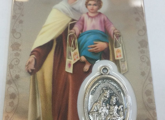 Laminated prayer cards with medal - assorted