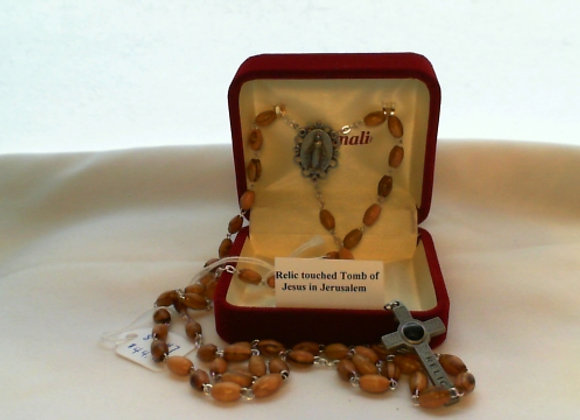 Rosary - Olive wood with Pewter & Relic