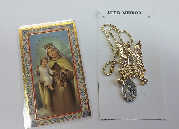 Auto mirror- Mt Carmel guardian angel