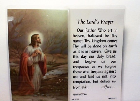 Prayer Card with the Lords Prayer