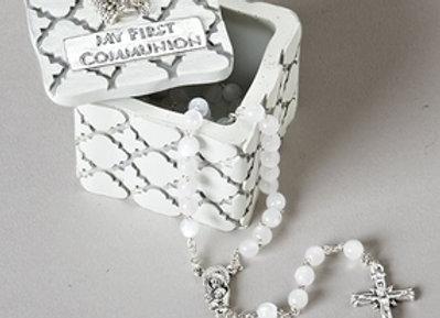 My First Communion Rosary/Trinket Box