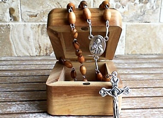 Olive Wood Rosary & Box - 2 piece Set