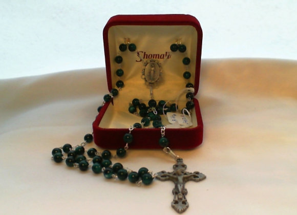 Rosary - Green & Pewter