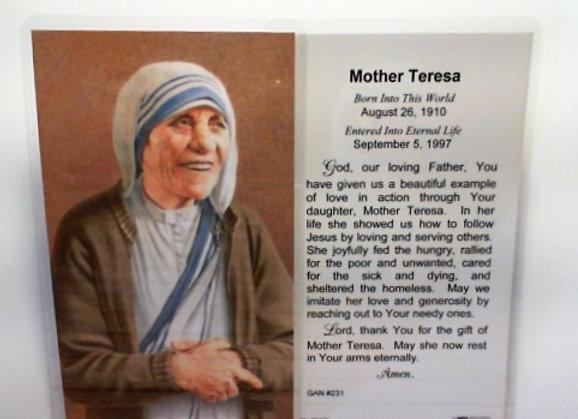 Mother Theresa Prayer Card