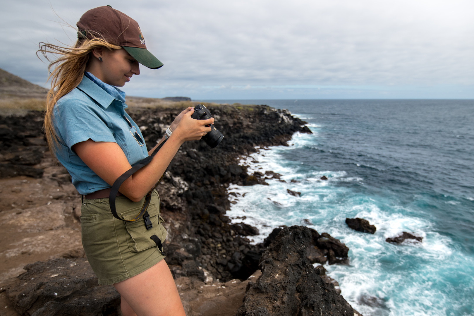 Berry photographing seabirds on San Cristobal, Galapagos.