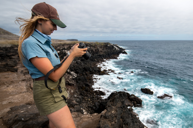 Berry photographing seabirds on San Cristobal, Galapagos.