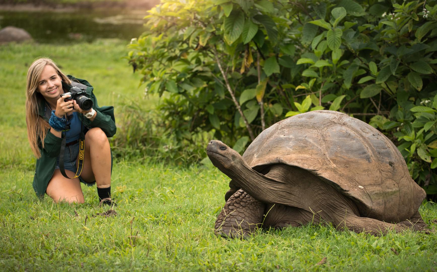 Kate and a Galapagos Tortoise, Santa Cruz.