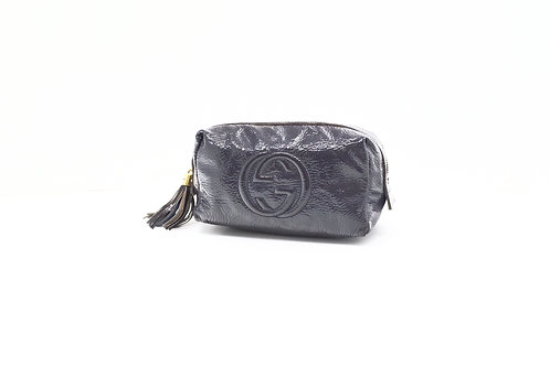 Gucci Soho Pouch GG in Navy Patent Leather