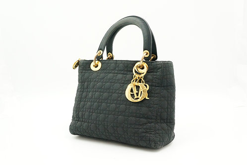 Dior Lady Cannage Handbag in Black Quilted Canvas