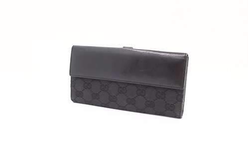 Gucci GG Canvas Piston Lock Long Wallet