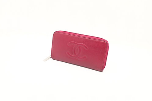 buy Chanel Timeless Caviar long zip wallet Fuschia
