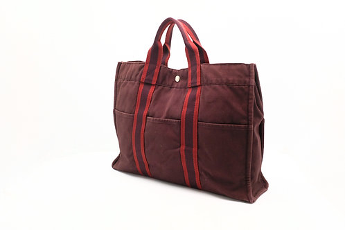 Hermes Fourre-Tout MM Tote Bag in Burgundy Canvas