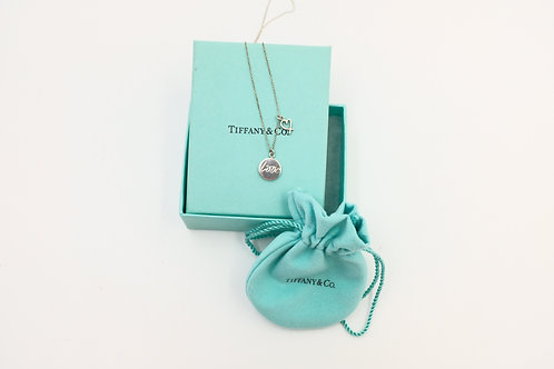 Tiffany & Co. Silver Circle Round Love Heart Double Pendant Necklace