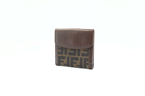 Fendi Compact Wallet in Zucca Canvas