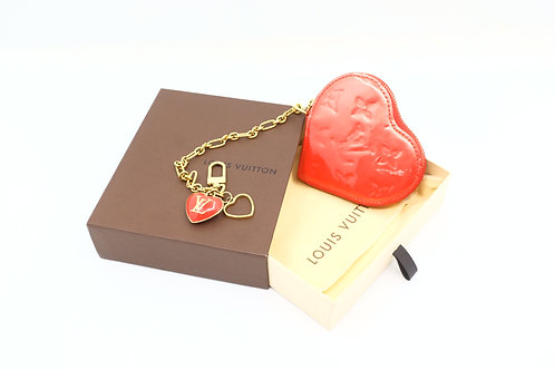Louis Vuitton Heart Coin Case in Orange Sunset Vernis Leather