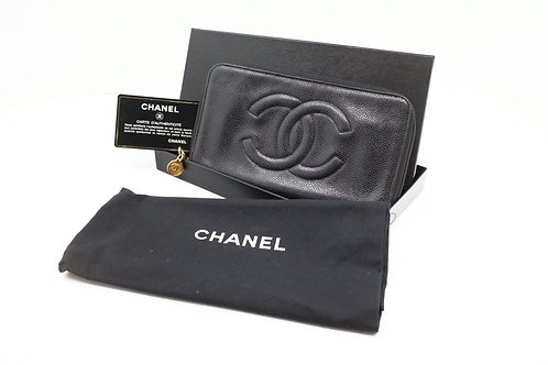 Chanel Timeless Line Long Wallet in Black Caviar Leather