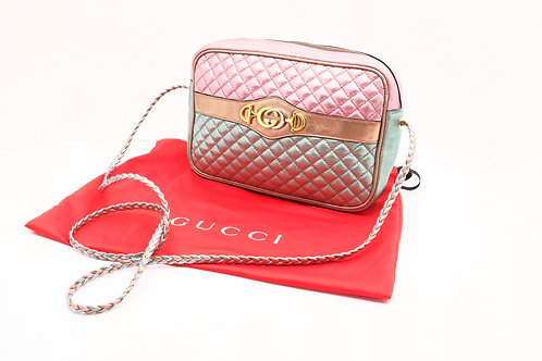 Gucci Trapuntata Crossbody Bag in Pink Metallic Quilted Leather