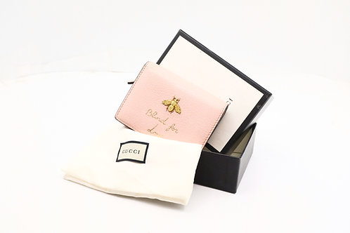 Gucci Blind for Love Compact Wallet in Pink Leather
