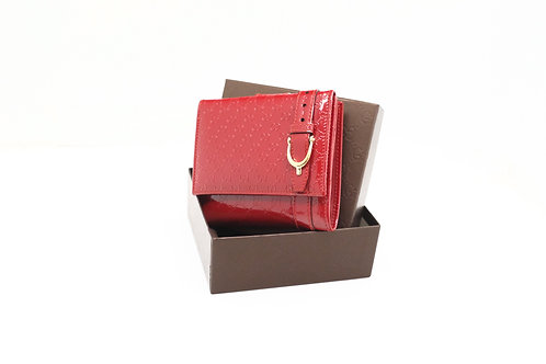 Gucci Guccissima Compact Wallet in Red Patent Leather