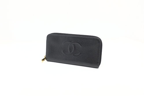 Chanel Timeless Caviar long zip wallet Black