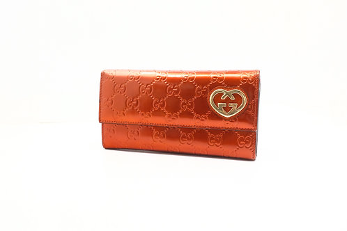 Gucci Guccissima Long Wallet in Red Patent Leather