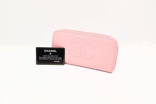 but preloved Chanel Timeless Caviar Zipped Wallet Pink
