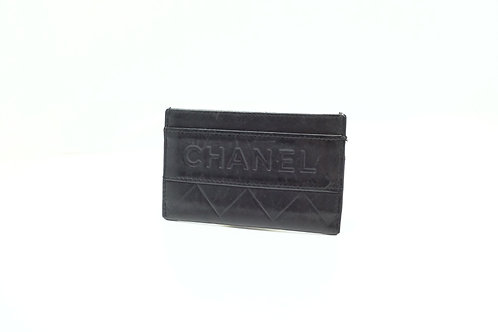 Chanel Card Case in Quilted Black Leather