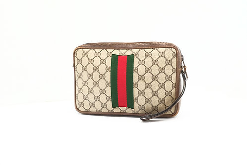 Gucci Sherry-Line Wristlet in GG Supreme Diamante Canvas
