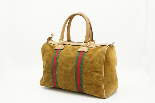 Gucci Sherry Line Boston Bag in Tan Suede
