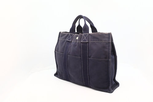 Hermes Fourre Tout MM Tote Bag Canvas Blue Denim