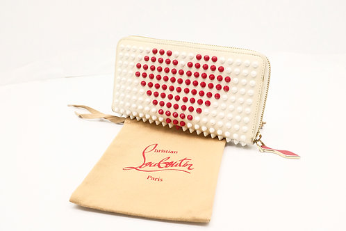 Louboutin Heart Long Zipped Wallet in Spiked Leather