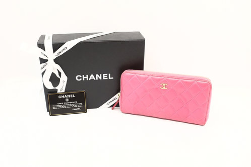buy preloved Chanel Matelasse Zipped Long Wallet Pink