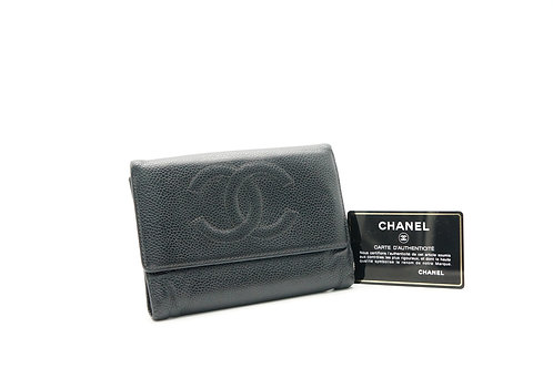 Chanel Trifold Wallet in Black Caviar Leather