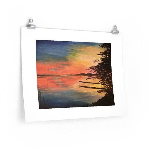 Print- Sunset Fire at Georgina Island. Joz- 2020