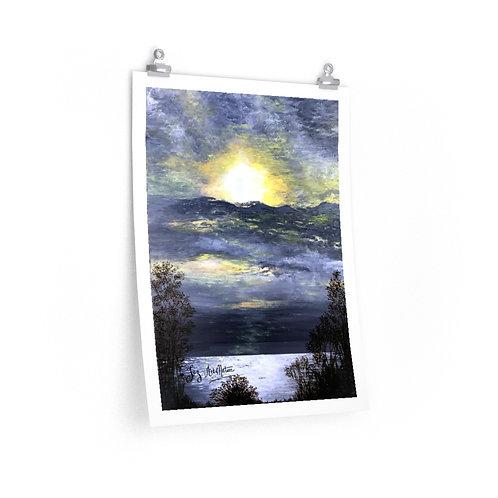 Print. Sun though the clouds. Leslie Spit. Joz- 2020.