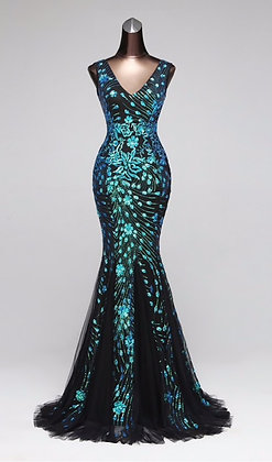 Double-V Mermaid  Evening Dress