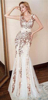 Luxury Gold Sequin Evening Dress U-back