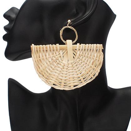 Handmade Wood StrawStatement Earrings