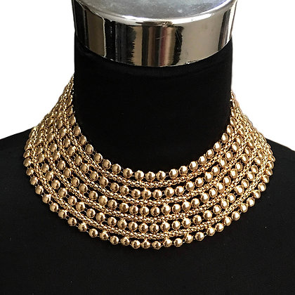 Metal Beaded Chunky Necklace