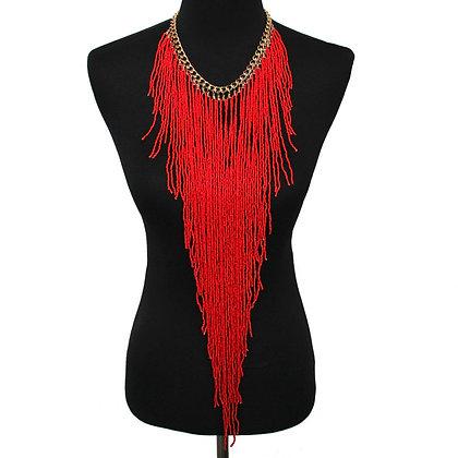 Bohemian Style Resin Bead Handmade Long Tassel Statement Necklace