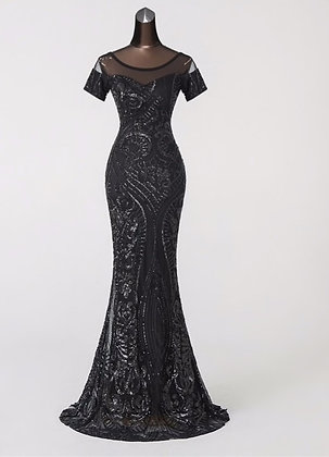 Vintage Illusion Luxury Sequin Evening Dress