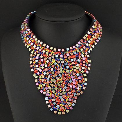 Ethnic Style Beaded Boho Statement Necklace