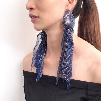 Long Lace Wrap Statement Earrings