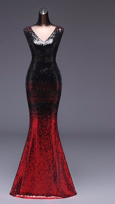 Gradient Sequin Evening Dress